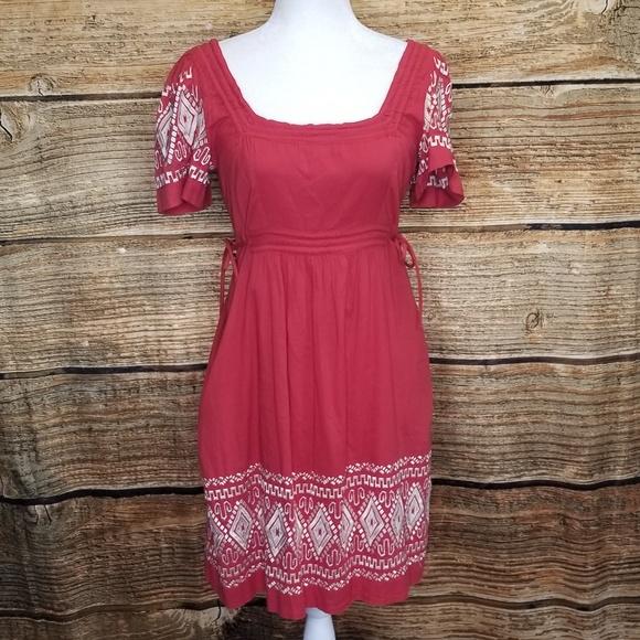 Yoana Baraschi Dresses & Skirts - Yoana Baraschi Coral & White Embroidered Dress Med